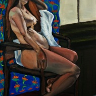 "18X24 oil on canvas ""Lady Sleeping in a Chair"""