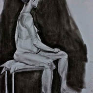 "35""X23"" graphite and charcoal on paper; final life drawing in Life Drawing II"