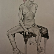 "35""X23"" graphite and charcoal on paper; final life drawing in Life Drawing I"