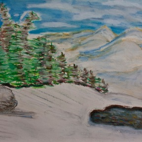 """9 X 12"""" oil pastels on sketch paper. This is a study for my next oil painting."""