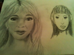 Two sketches, one more realistic, one cartoon