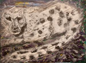 """""""Snow Leopard."""" Acrylic on canvas."""